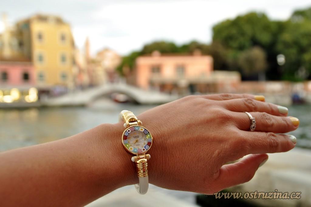 Benátky murano sklo hodinky